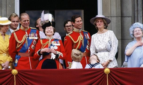 Members of the royal family on the balcony at Buckingham Pal